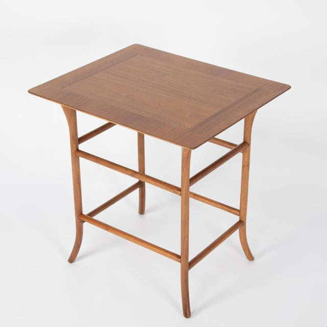 Brown Walnut Nesting Tables Inspired by T.H. Robsjohn-Gibbings, Circa 1990s - a Pair For Sale - Image 8 of 13