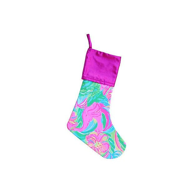 Cotton Lilly Pulitzer Style Tropical Colorful Christmas Stocking For Sale - Image 7 of 7