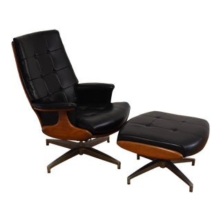 Heywood Wakefield Black Vinyl Lounge Chair and Ottoman