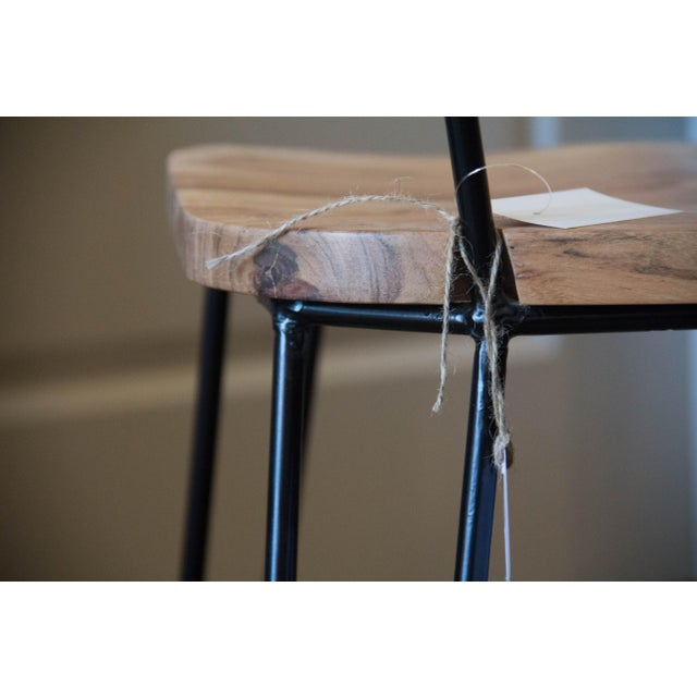 Handcrafted Acacia Wood & Iron Chairs - Set of 4 - Image 6 of 7