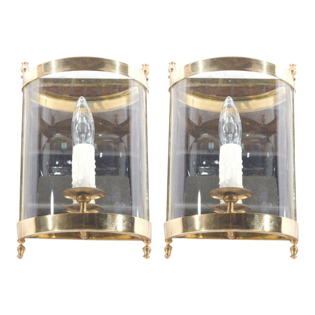Pair of French Brass, Glass, and Mirror Sconces - Image 1 of 3