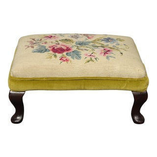 Vintage French Country Yellow Floral Needlepoint Footstool For Sale