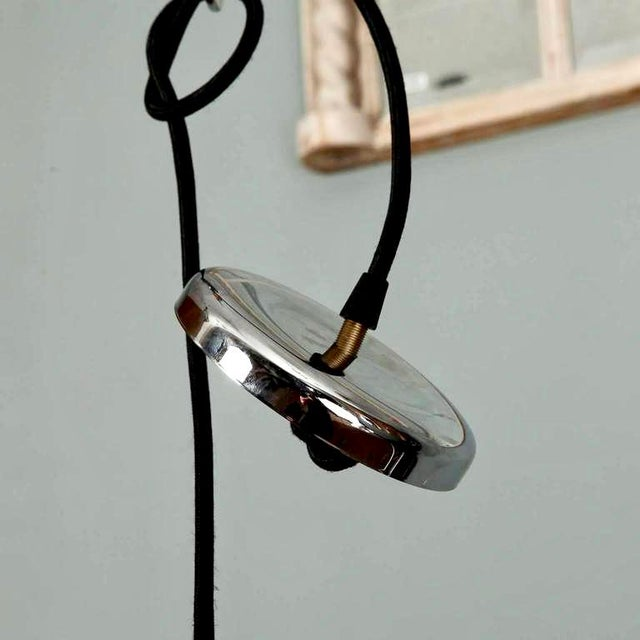 Mid-Century Chrome and Molded Glass Pendant Light For Sale - Image 5 of 6
