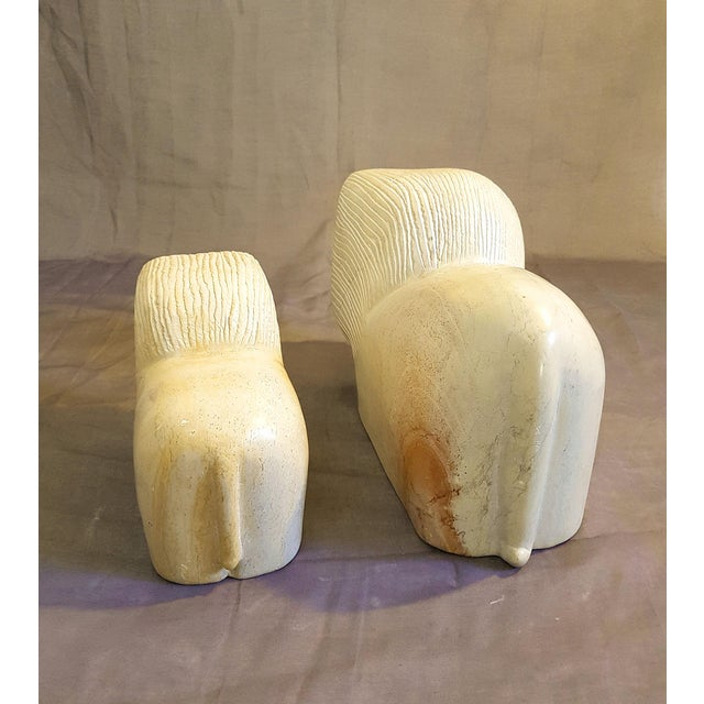 Tan Pair of African Stylized Lion Stone Sculptures, Mid Century Modern, 1960s For Sale - Image 8 of 12