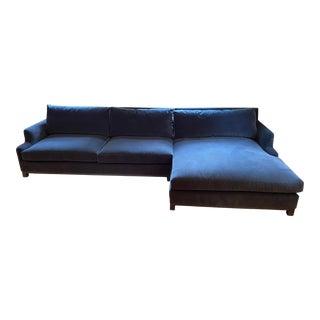 Lancaster Sectional Upholstered in Graphite Performance Velvet For Sale
