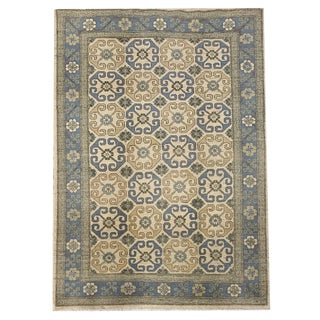 Transitional Hand Knotted 'Khotan' Geometric Beige and Blue Area Rug - 4′10″ × 7′ For Sale