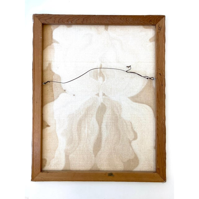 Cream Vintage Oil Painting on Canvas of Flower in the Manner of Georgia O'Keefe For Sale - Image 8 of 9
