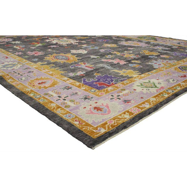 Abstract Contemporary Turkish Oushak Rug with Modern Style For Sale - Image 3 of 4