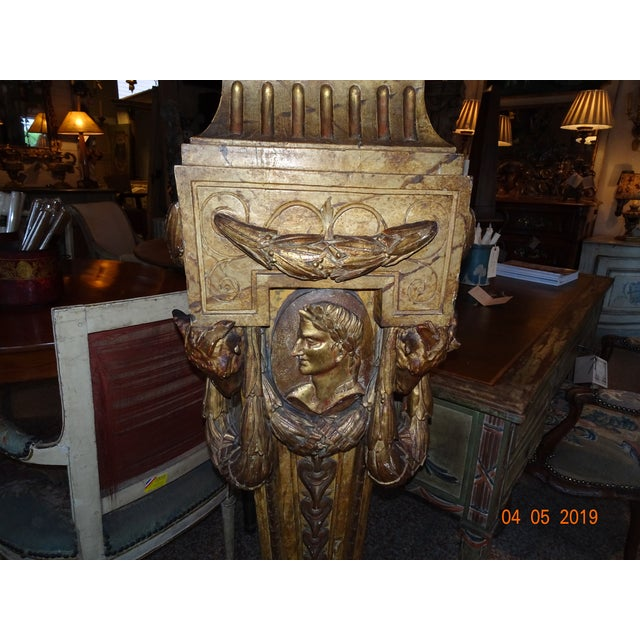 French 19th Century French Gilt & Painted Pedestal For Sale - Image 3 of 13