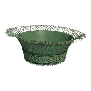Oval Wire Cachepot With Liner For Sale