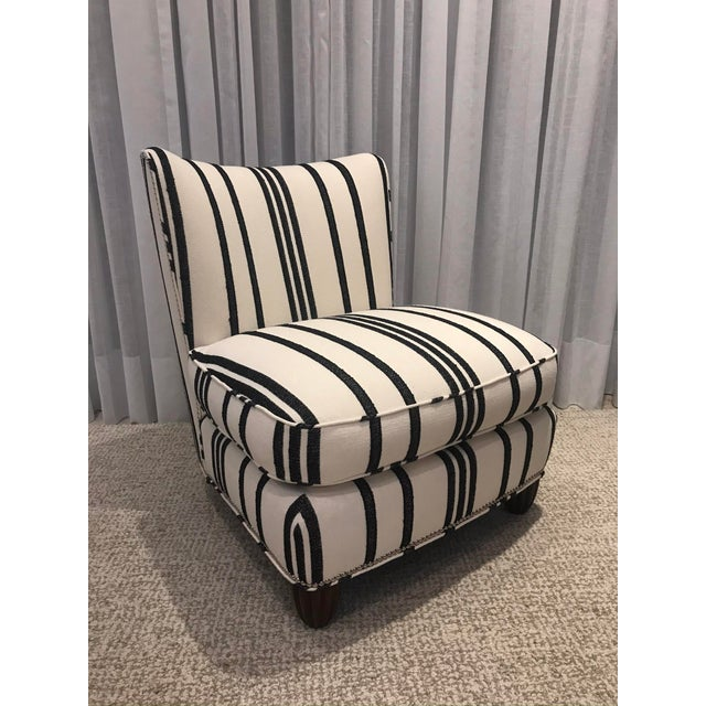 Barbara Barry Armless Chair with Schumacher Stripe Fabric For Sale - Image 13 of 13