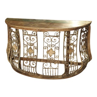 Wood and Iron Grille Demi Lune Console Table From India For Sale