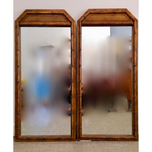 Large Faux Bamboo Mirrors - A Pair - Image 2 of 5