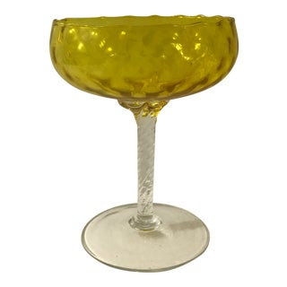 1970s Hand Blown Sunburst Yellow Twisted Stem Margarita Glass For Sale