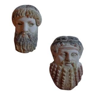 Vintage Greek Mythology God Wall Objects - A Pair