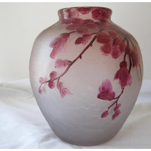 """Legras Art Nouveau frosted cameo glass vase from """"Rubis"""" line, late 1800's. Hand painted acid-etched floral design in..."""