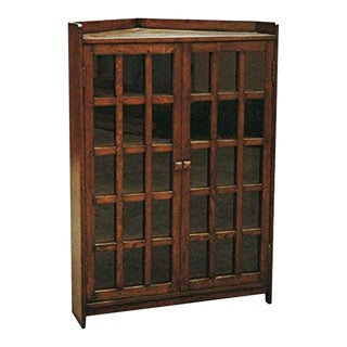 Crafters and Weavers Mission Corner Bookcase Walnut For Sale