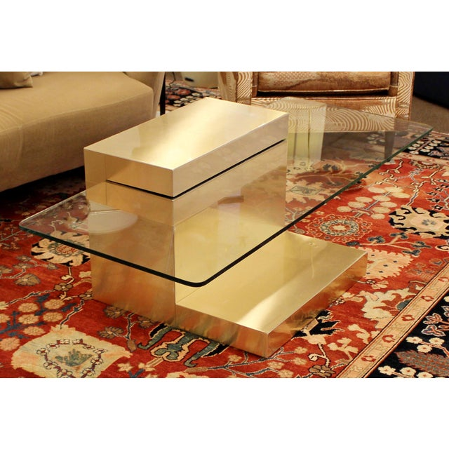 Mid-Century Modern Mid-Century Modern Paul Evans Cantilever Brass Glass Cityscape Coffee Table For Sale - Image 3 of 12