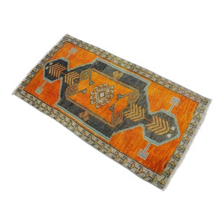 Distressed Low Pile Rug Turkish Yastik Small Rug Faded Colors Mat - 20'' X 37'' For Sale