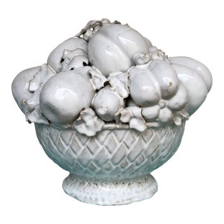 Vintage Ceramic Topiary Urn of Fruit For Sale