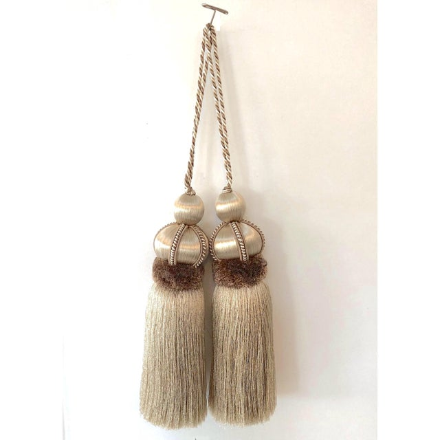 Taupe Key Tassel With Cut Velvet Ruche - a Pair For Sale - Image 10 of 10
