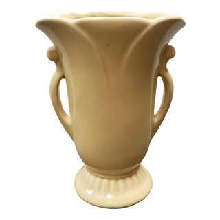 1930's American Art Deco Yellow Ceramic Double Handled Vase For Sale
