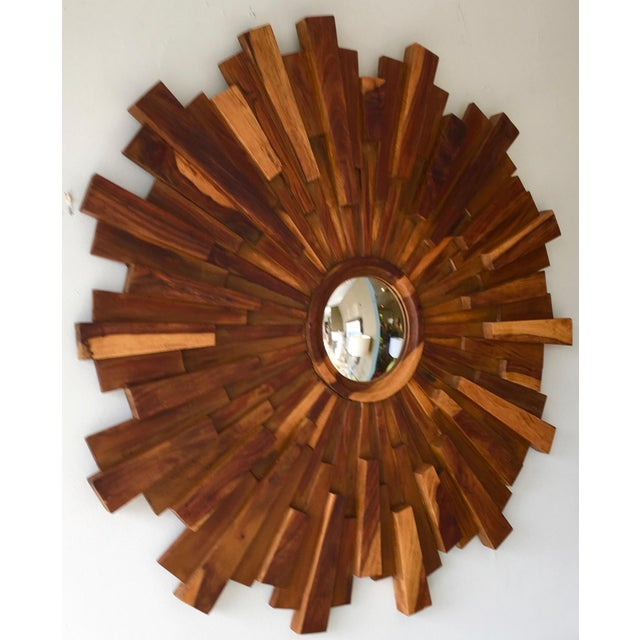 Brutalist Style Wood Sunburst Mirror - Image 3 of 5