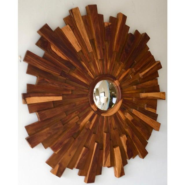 Brutalist Brutalist Style Wood Sunburst Mirror For Sale - Image 3 of 5