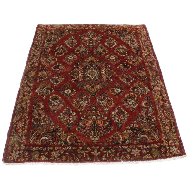 Islamic Antique Sarouk Persian Rug With Traditional Style - 03'04 X 04'08 For Sale - Image 3 of 10