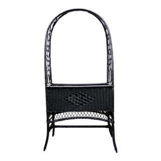 Black Lacquered Wicker Plant Stand Arched Trellis Fernery Box For Sale