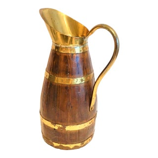 Monumental 19th Century Antique English Brass Bound Oak Tavern Pitcher For Sale