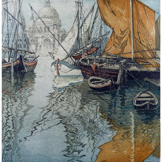 Venice sail boats etching on paper by Josef Eidenberger (1899-1991) Austria. Signed in pencil lower right margin....