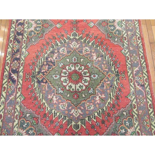 "Traditional 1970's Vintage Hand Knotted Wool Turkish Runner-5'2'x13'5"" For Sale - Image 3 of 9"