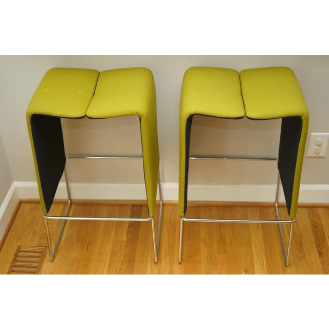 B&b Italia 'Pyllon' Stool by Nicole Aebischer in Chartreuse- A Pair For Sale - Image 9 of 12