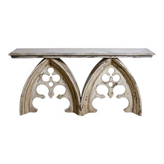 Vintage Wood Gothic Style Cathedral Arched Console Table For Sale