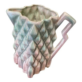 Vintage Art Deco Falcon Ware Pink and Pale Turquoise Jug For Sale