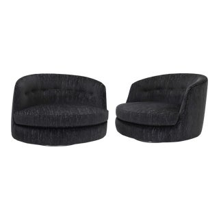 Milo Baughman Oversized Swivel Satellite Chairs in Black Cut Velvet, 1970s - a Pair For Sale