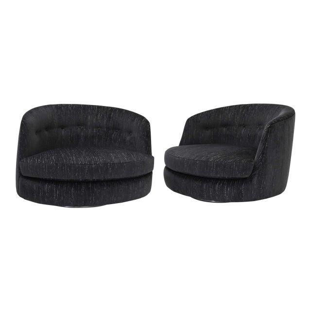 Milo Baughman Oversized Swivel Satellite Chairs in Black Cut Velvet, 1970s - a Pair For Sale