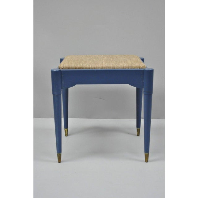 Mid 20th Century Vintage Mid-Century Modern Danish Style Blue Painted Piano Bench With Sewing Storage For Sale - Image 5 of 11