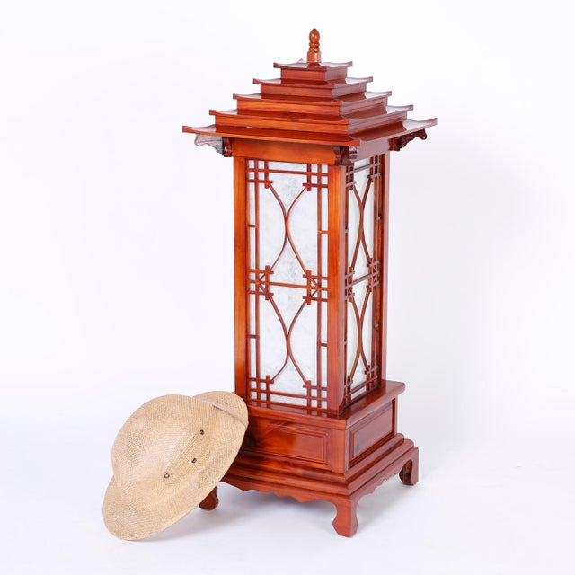 Red Large Pagoda Table Lamps - A Pair For Sale - Image 8 of 9