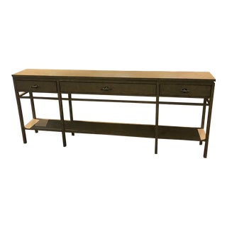 3 Drawer Wooden Console Table For Sale