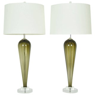 Large Murano Teardrop Lamps with Lucite Bases - A Pair For Sale