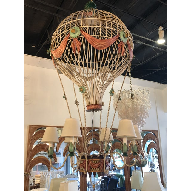 Vintage Italian Tole Metal Hot Air Balloon Chandelier For Sale - Image 13 of 13