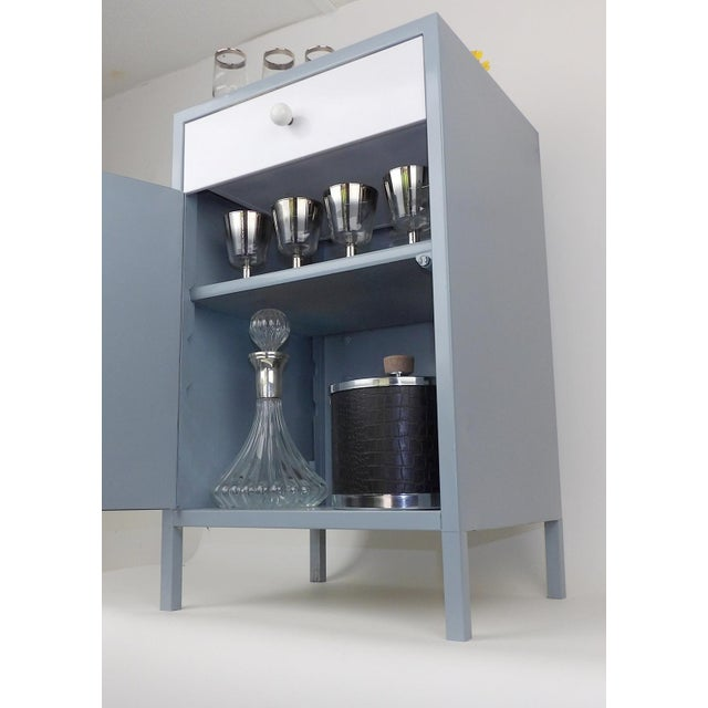 Gray White Shelf Bar Cabinet Wine Barware Storage Coffee Station For Sale - Image 5 of 11