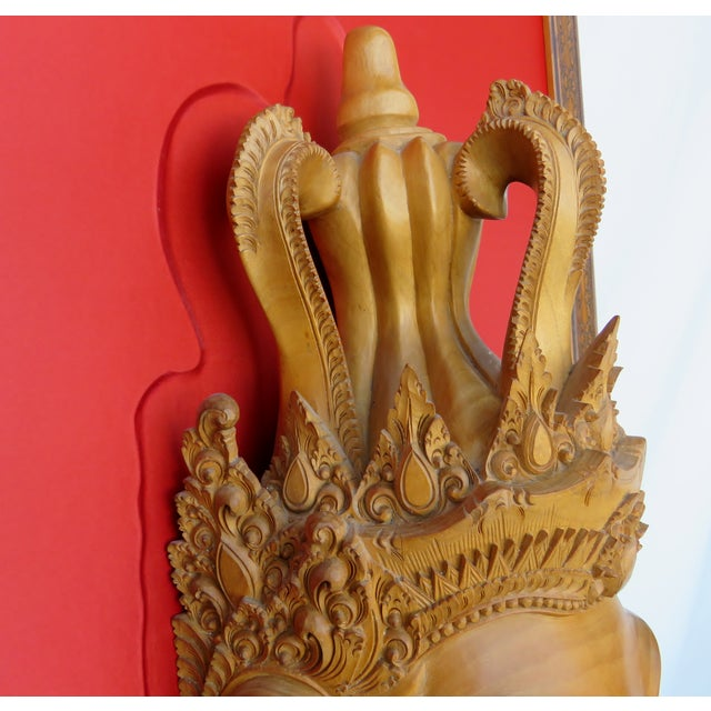 Wood Thai Mounted Buddha Wood Carving For Sale - Image 7 of 10