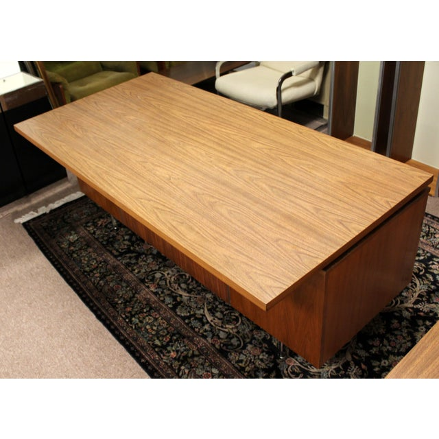 1950s 1950s Mid Century Modern George Nelson Herman Miller Walnut Desk & Credenza - 2 Pieces For Sale - Image 5 of 13