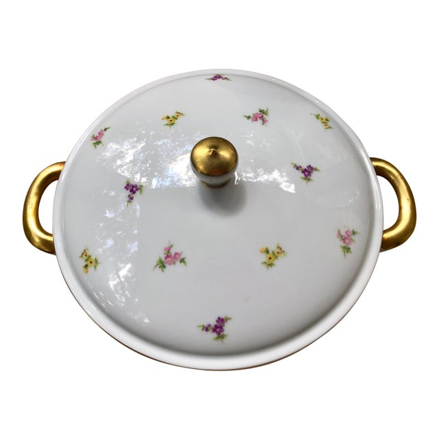 """Haviland """"Rose Chintz"""" Gilt Floral Porcelain Vegetable Tureen For Sale"""