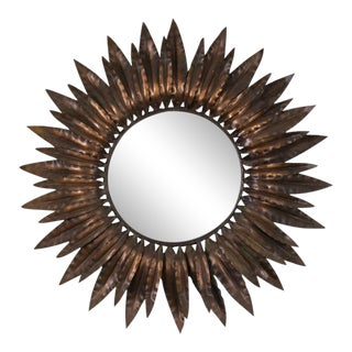 Sunburst Mirror With Antique Copper Finish For Sale