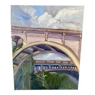 """Colorado Street Bridge (Detail)"" Contemporary Architectural Plein Air Oil Painting For Sale"