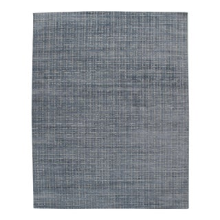 Simplicity Blue Gray Contemporary Handwoven Rug 10' X 14' For Sale